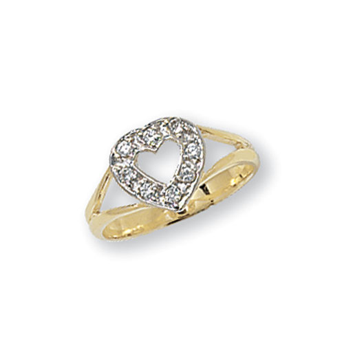 9 carat yellow gold cut out heart babies ring with cubic zirconias