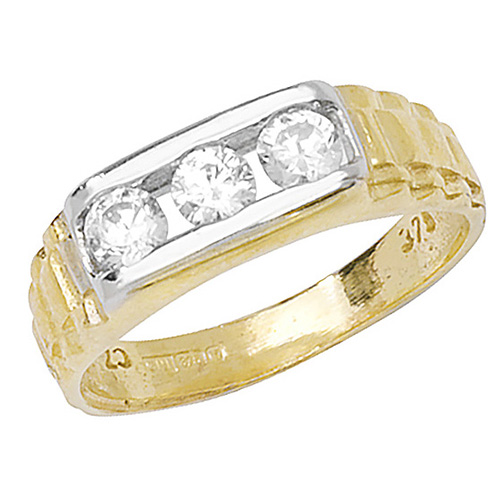 9 carat yellow gold babies 3 stone ring set with cubic zirconias