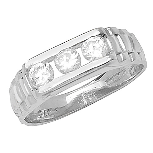 9 carat white gold babies three stone ring set with cubic zirconias