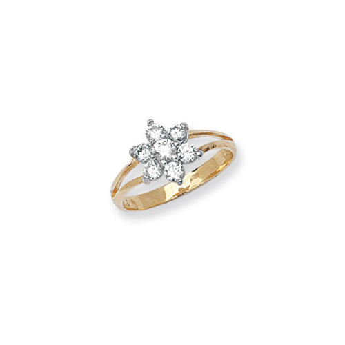 9 carat yellow gold babies cluster ring set with cubic zirconias