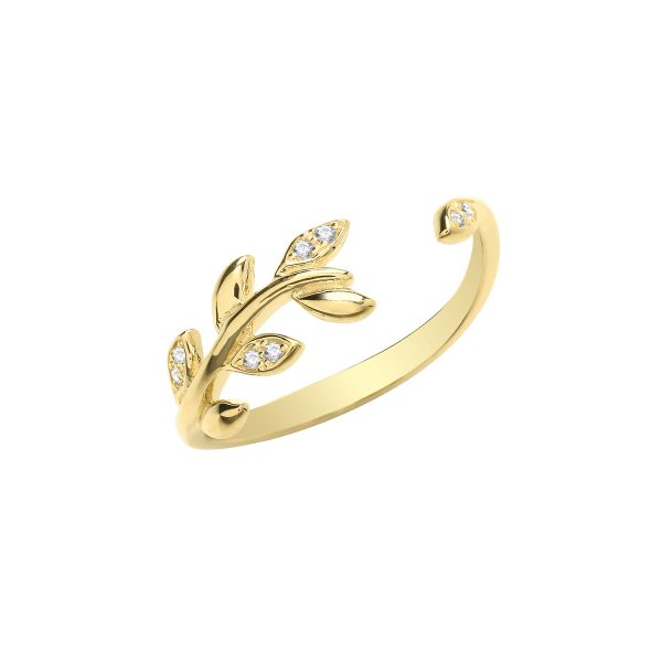 9 carat yellow gold leaf ring set with cubic zirconias