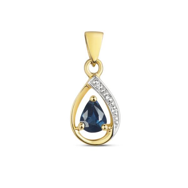 9 carat yellow gold diamond and sapphire pendant