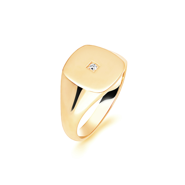 9 carat yellow gold diamond signet ring
