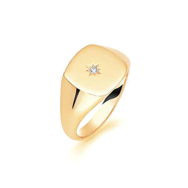 9 carat yellow gold cushion shape signet ring set with a diamond