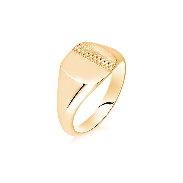 9 carat yellow gold patterned signet ring