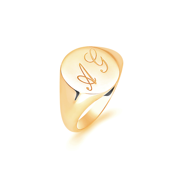 9 carat yellow gold initial signet ring