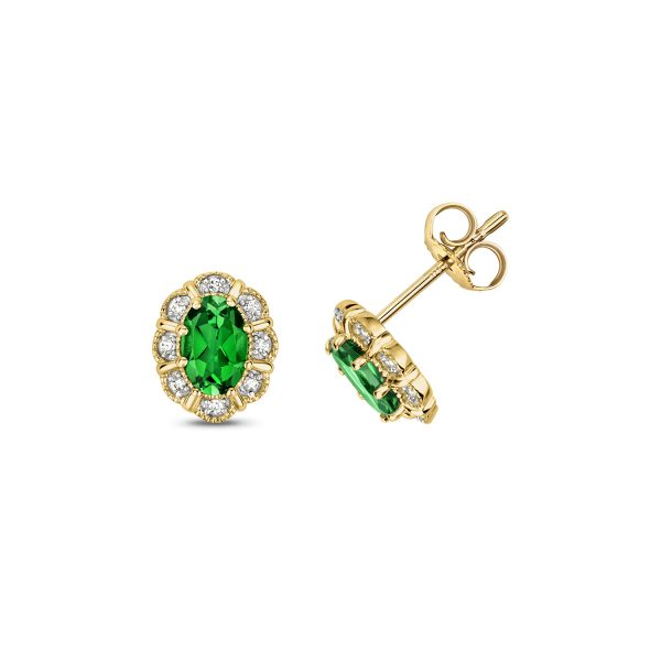 9 carat yellow gold diamond and passion rainforest topaz earrings