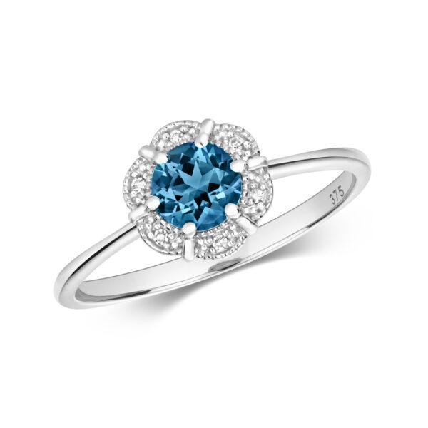 9 carat white gold diamond and blue topaz dress ring