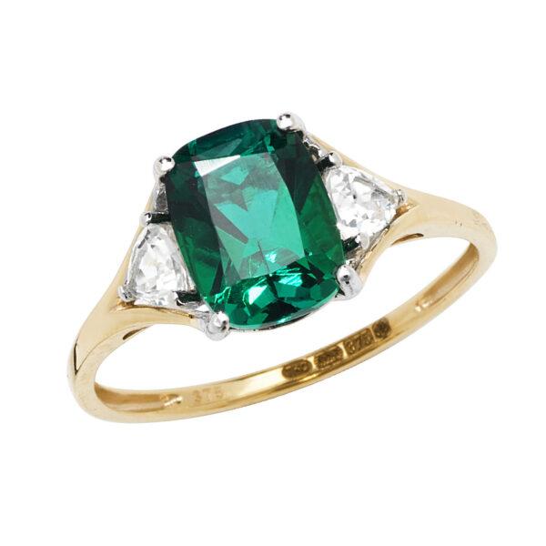 9 carat gold created emerald ring