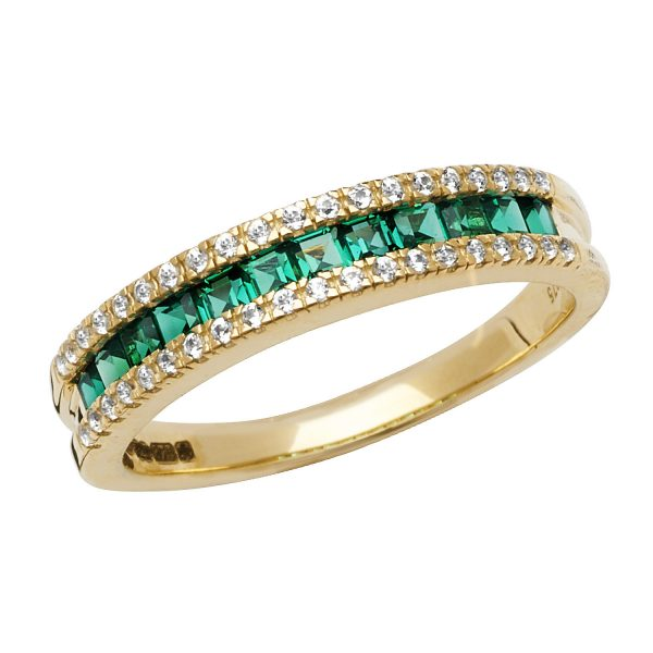 9 carat yellow gold created emerald ring