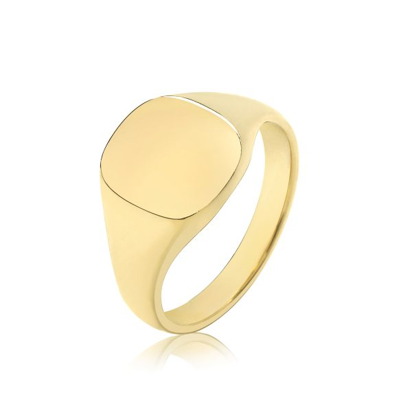 9 carat gold cushion signet ring