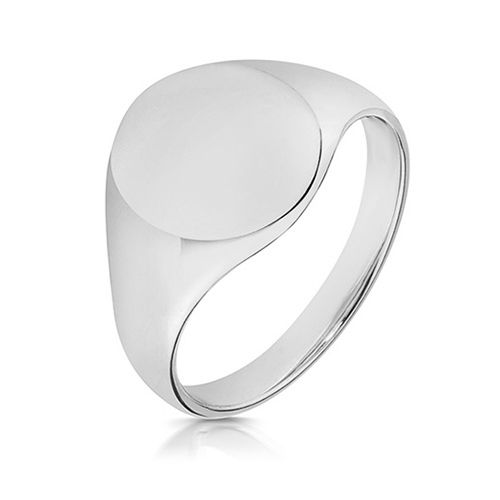 silver oval 14 x 12mm signet ring