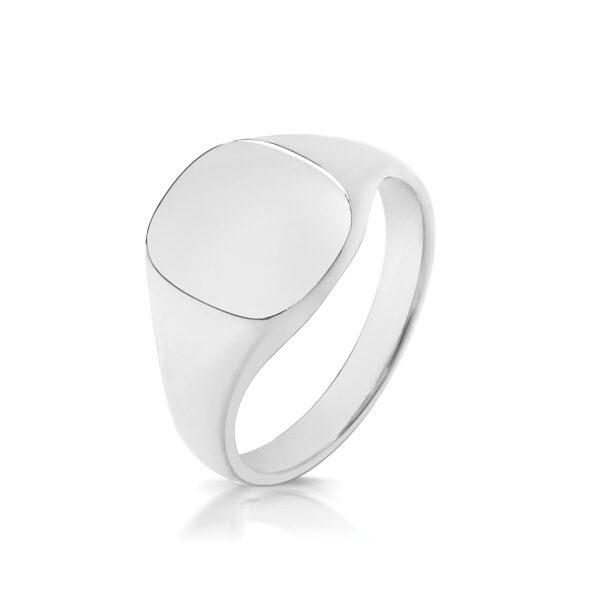 silver 11 x 10mm cushion signet ring