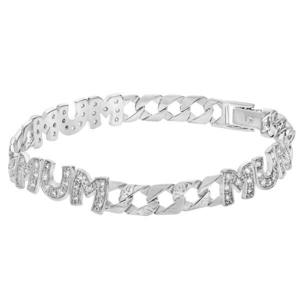 silver cz mum bracelet