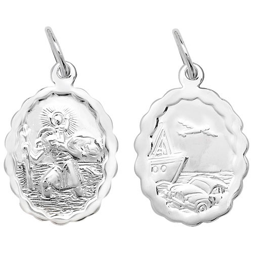 Sterling Silver Patterned Edge St Christopher Pendant