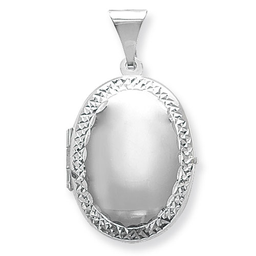 Oval Patterned Edged Locket Sterling Silver