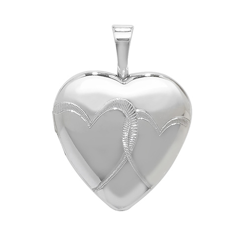 Sterling Silver Heart Shaped Patterned Locket