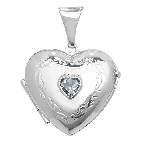 Blue Topaz Heart Shaped Locket Sterling Silver