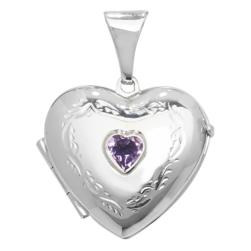Amethyst Heart Shaped Locket sterling Silver