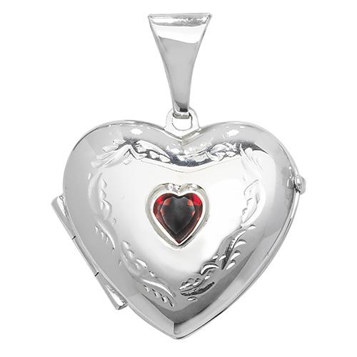 Sterling Silver Garnet Heart Shaped Locket
