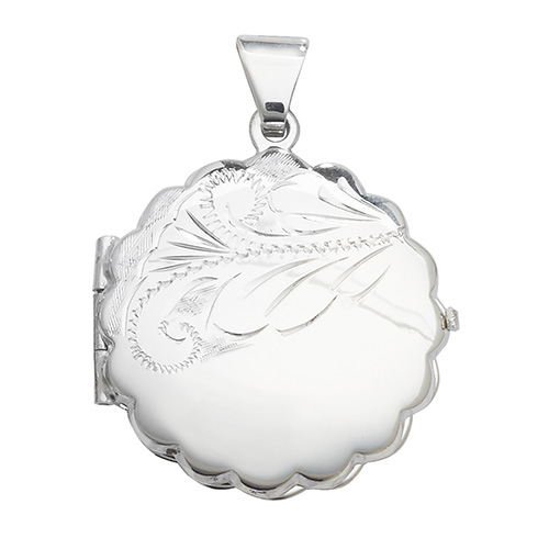 Sterling Silver Round Fancy Patterned Locket
