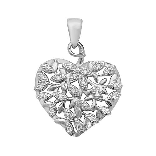 Silver Heart Vine Pendant