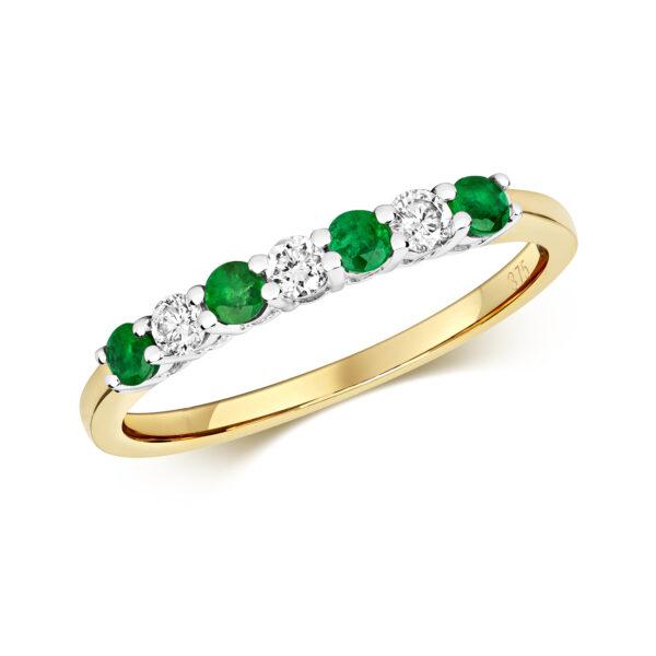 9 carat yellow gold emerald and diamond eternity ring