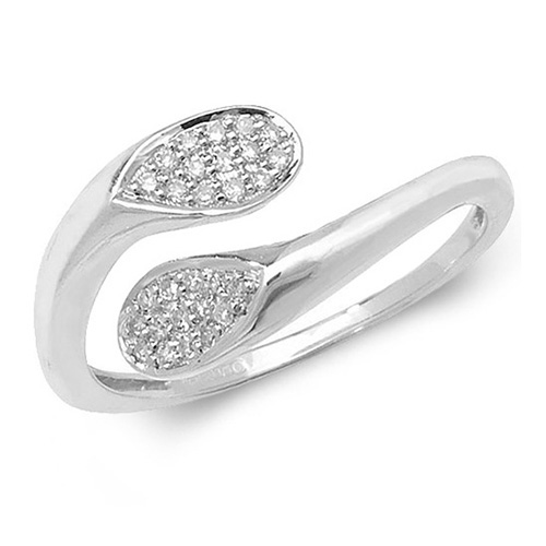 9 carat white gold diamond cross over style ring