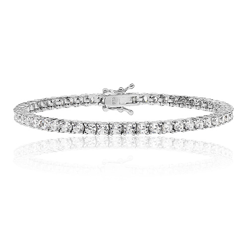 Sterling Silver Cubic Zirconia Line Bracelet