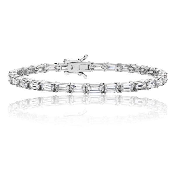 silver baguette cz line bracelet