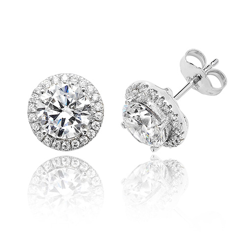 Sterling Silver Cubic Zirconia Halo Style Stud Earrings