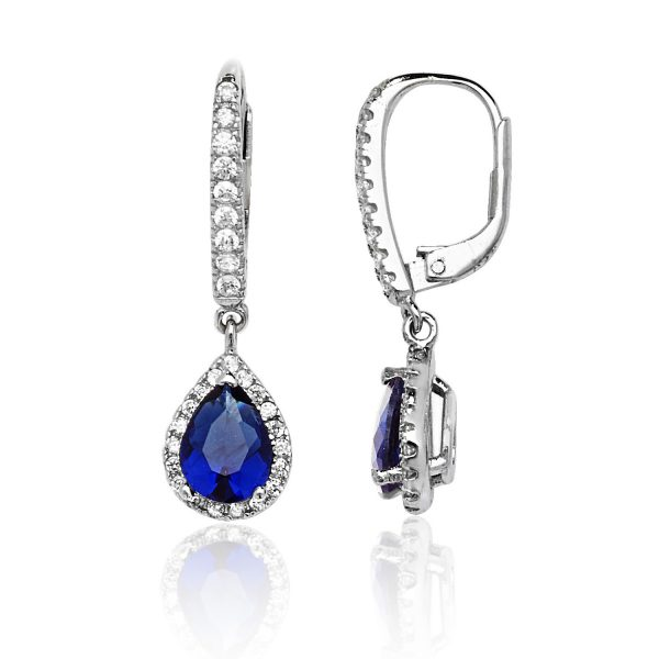 Silver blue and white cz drop earrings