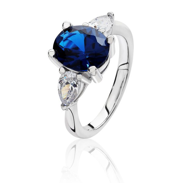 silver blue cz and white cz ring