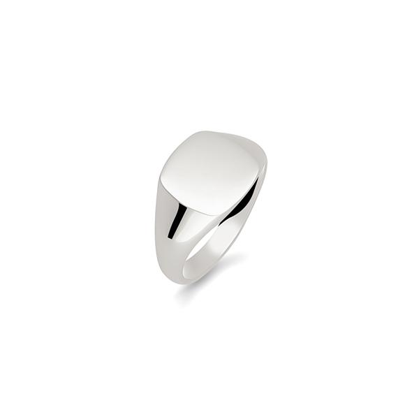 argentium cushion signet ring