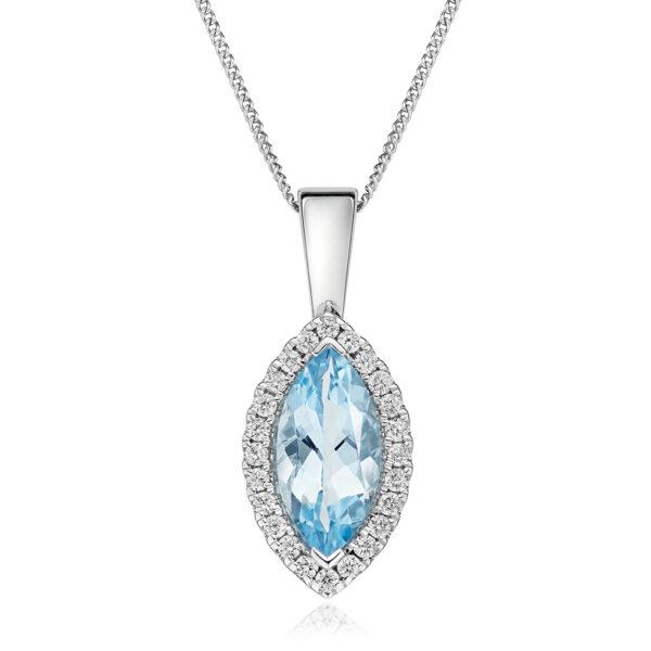 Aquamarine and Diamond Necklace 9ct Gold