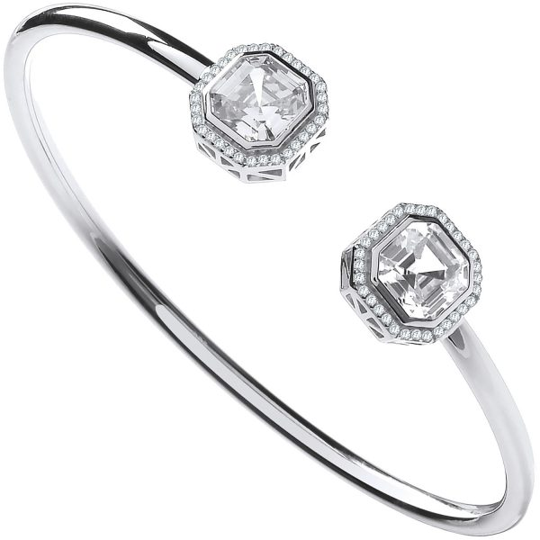 silver octagon cz bangle
