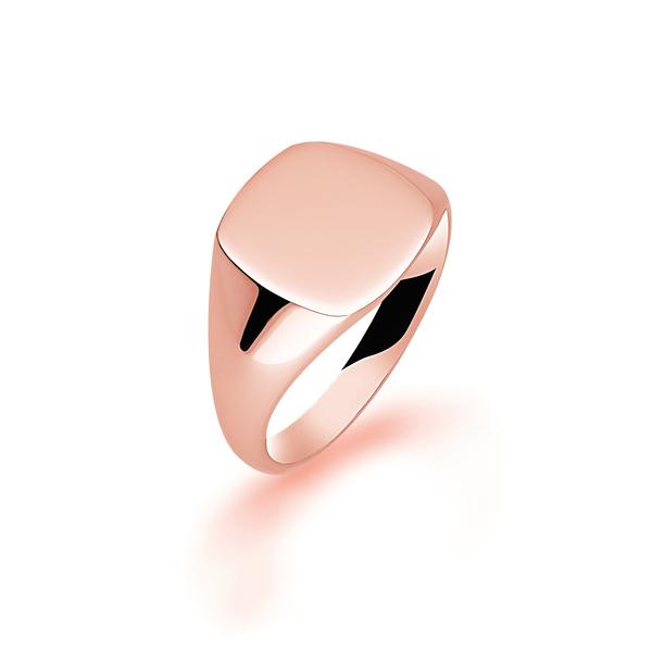 9 carat rose gold cushion signet ring