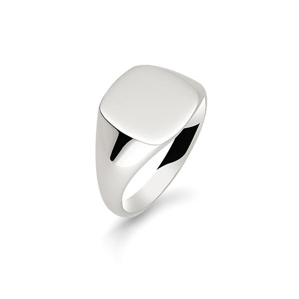 9 carat white gold cushion signet ring