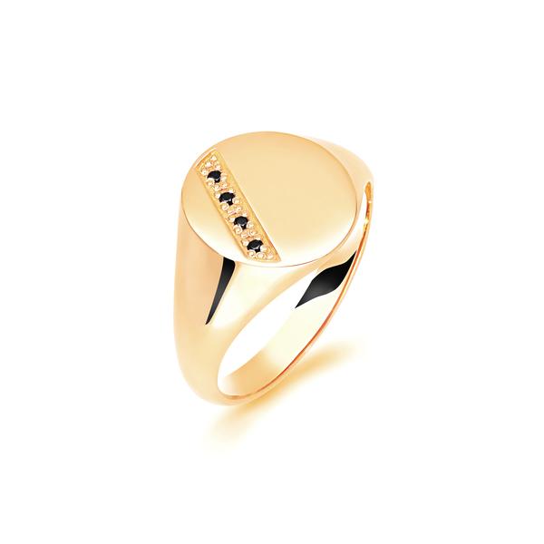 9 carat yellow gold sapphire set signet ring