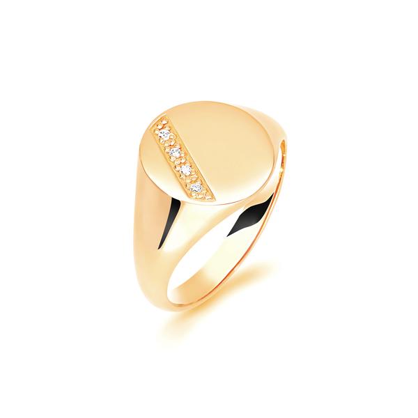9 carat yellow gold oval signet ring diamond set