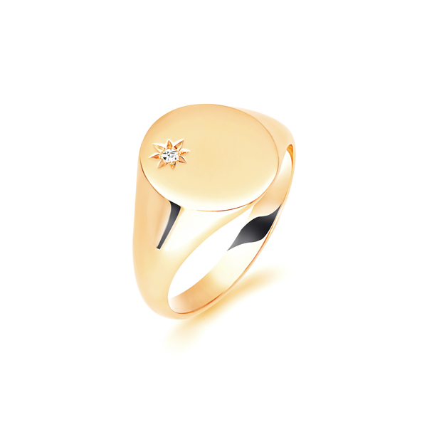 9 carat gold grain set diamond signet ring