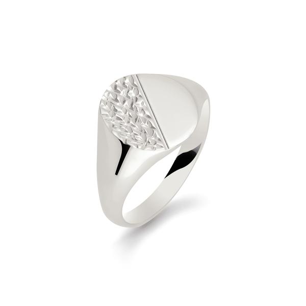 argentium bark effect signet ring oval