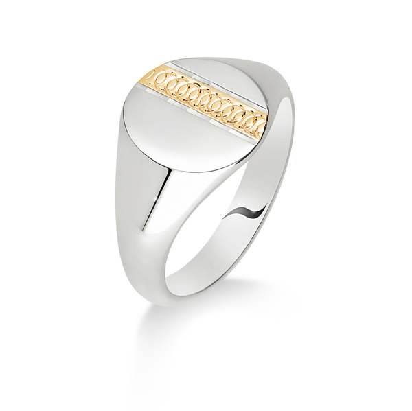 9 carat white & yellow gold oval signet