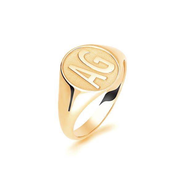 9 carat yellow gold initials signet ring