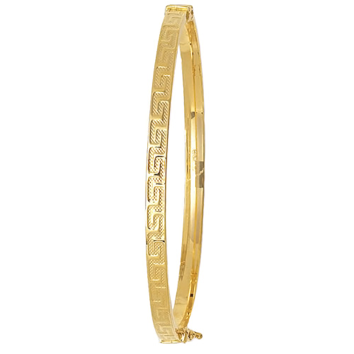 9 cart yellow gold greek key design bangle
