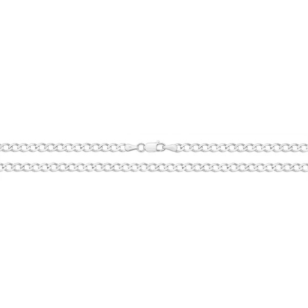 9 carat white gold flat bevelled curb chain