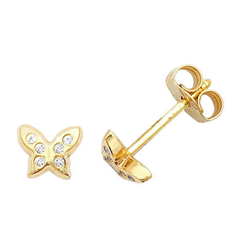 9 carat yellow gold cubic zirconia butterfly earrings