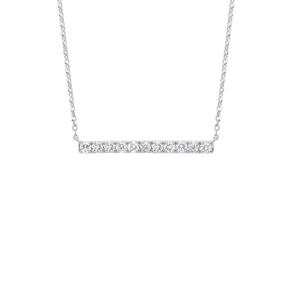 9 carat white gold diamond bar pendant and chain necklet