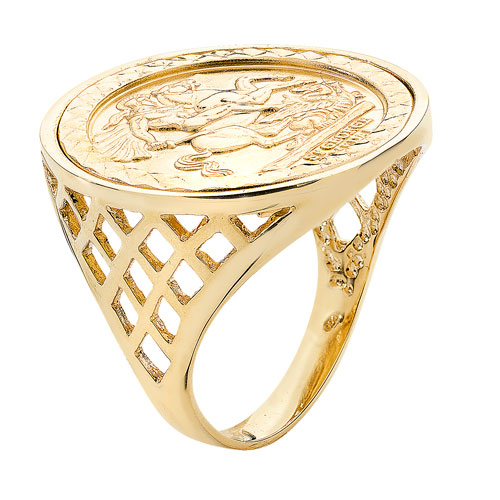 9 carat yellow gold st george ring