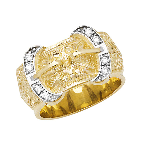 9 carat yellow gold cz buckle ring